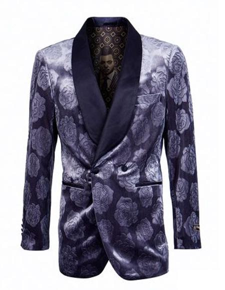 Mens Blue Velvet Collar Shawl Label Floral ~ Velvet Blazer