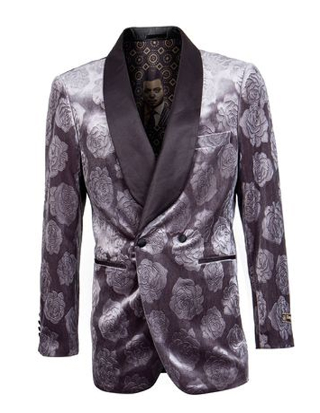 Double Breasted Tuxedo Mens Gray Shawl Label Besom Pocket Floral ~ Velvet Collar Blazer