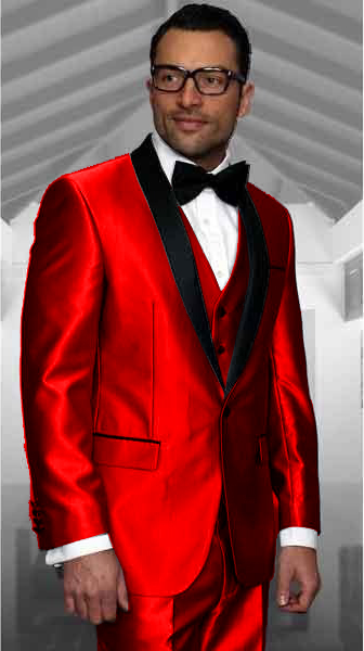 Red Tuxedo Shawl Collar Vested Jacket & Vest & Pants 3 Piece Suit Prom or Wedding or Groom Tuxedo