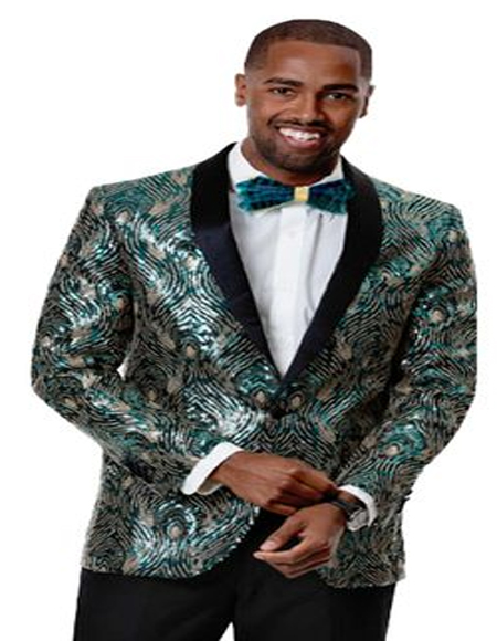 Mens Green Woven Silky Fabric Prom Tuxedo Perfect For Prom Clothe - Prom Outfits For Guys
