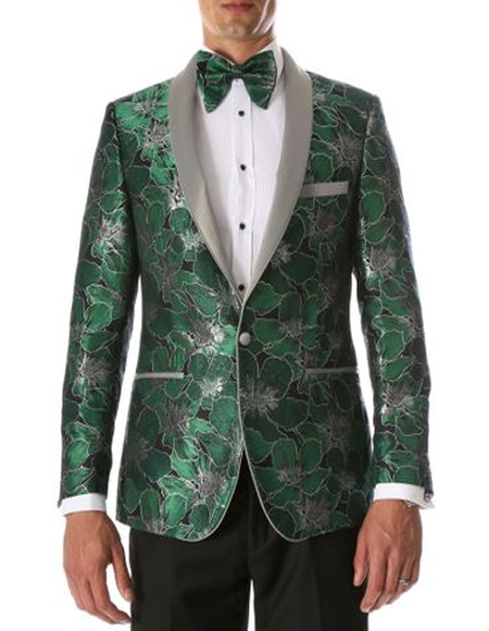 Mens Green Single Breasted Shawl Lapel Floral Pattern Tuxedo