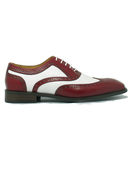 Mens Carrucci Shoes Mens Red ~ White Wingtip Two Toned Leather Lace Up 1920s style fashion mens shoes
