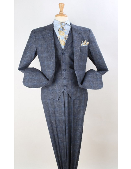 Mens Plaid Suit Classic Fit Suit Grey Windowpane Classic Fit Notch Lapel Wool Fabric 1940s Mens Plaid - Checkered Suits Style
