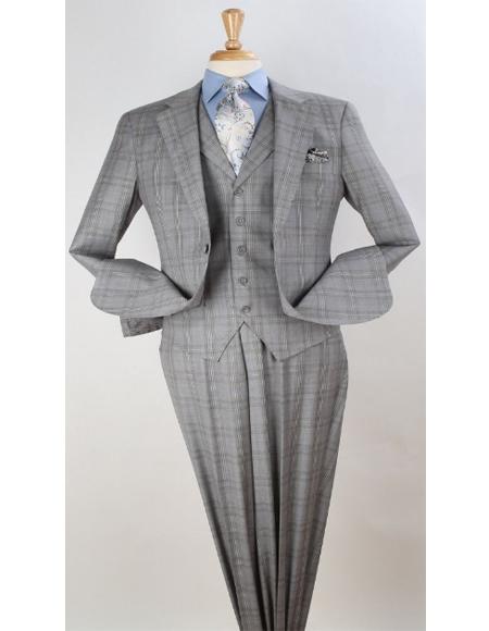 Mens Plaid Suit Classic Fit Suit Mens Plaid - Checkered Suit Grey Windowpane Vested Pleated Pants Classic Fit 1940s Suits Style