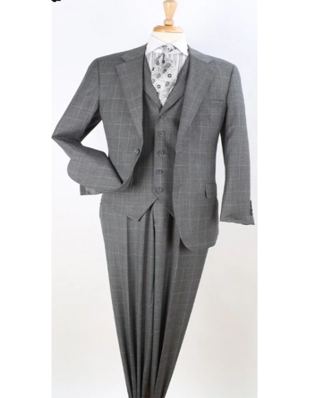 Classic Fit Suit Mens Grey Windowpane Single Breasted Wool Fabric Ticket Pocket 1940s Mens Suits Style