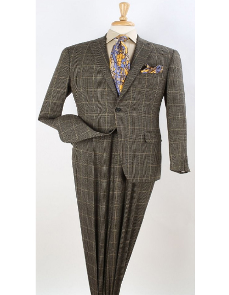 Classic Fit Suit Yellow Windowpane  Plaid 100% Wool Fabric 1940s Mens Suits Style 2 Button Windowpane Vested Pleated Pants