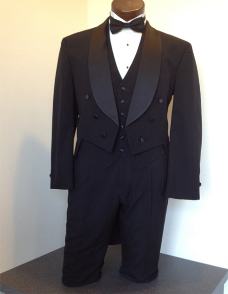 Mens Tailcoat Black Tail Tuxedo Wool Shawl Collar By Alberto Nardoni Perfect for Wedding or Stage