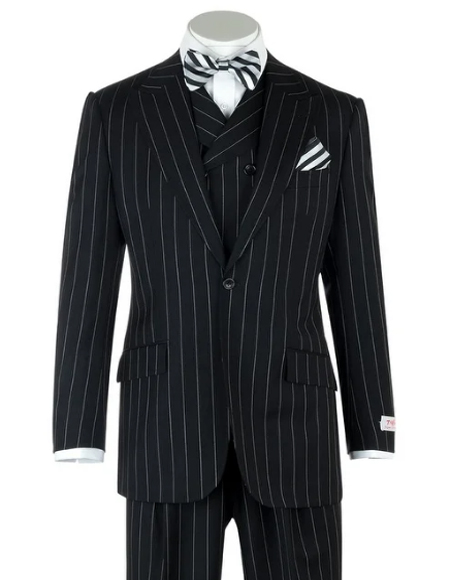Classic Fit Suit Peak Lapel Double breasted Vest Classic Fit 3 Piece Black Pin-Stripe Wide Leg, Pure Wool 1940s mens suits style & Vest 100% Wool Super 150's Fabric By Alberto Narodoni