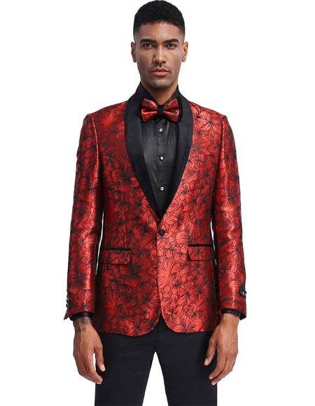Red and Black 1-Button Closure Single Breasted Prom Suits