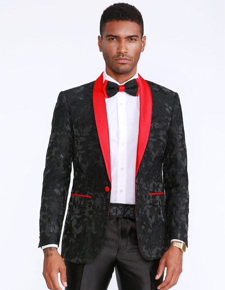 Red and Black Prom Suits Jacket + Pants