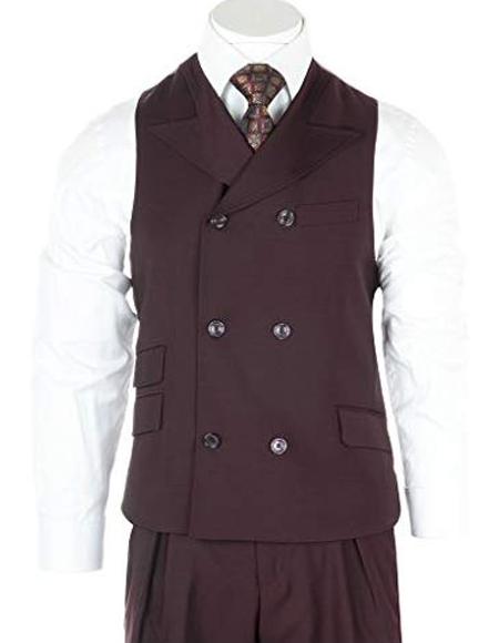 Mens Burgundy 6-Button Wool Double Dreasted Vest
