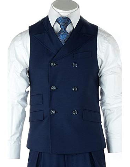 Mens French Blue 100% Wool Double Dreasted Vest