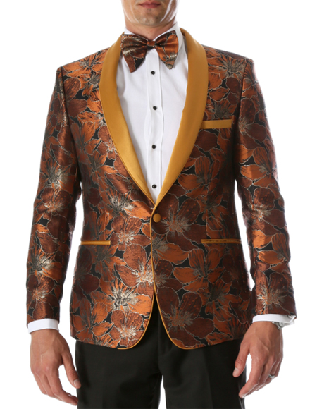 Slim Fit Mens Orange Paisley  Floral Blazer Tuxedo Jacket