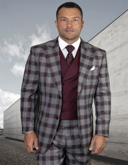Mens Plaid Suit Classic Fit Suit Mens Plaid - Checkered Suit Burgundy Super 150's 100% Wool 8 Button Vest Jacket - 3 Piece 1940s mens suits style For Men - Three piece 1940s mens suits style