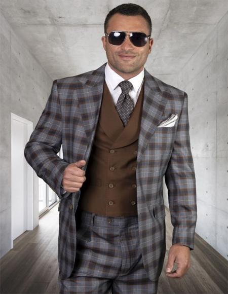 Mens Plaid Suit Classic Fit Suit Mens Plaid - Checkered Suit Copper Single Breasted 2 Button Jacket Regular Fit - 3 Piece Suit For Men - Three piece suit