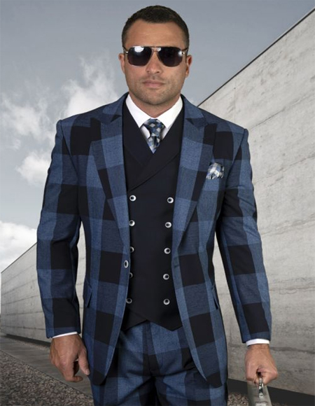 - Checkered Suit Navy