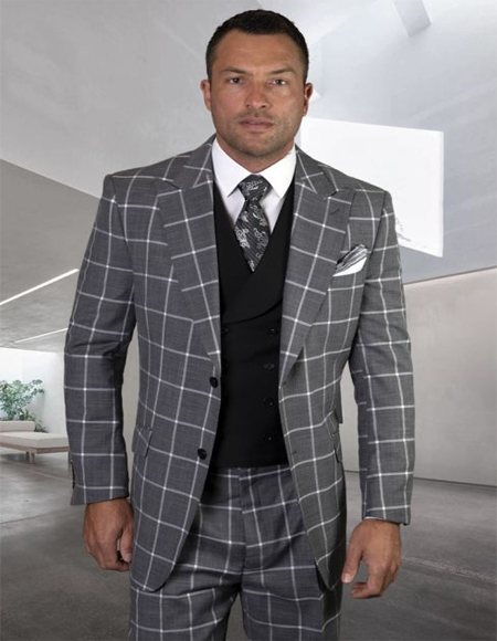 Mens Plaid Suit Classic Fit Suit Mens Plaid - Checkered Suit Black Side Vents Jacket Flap Pockets Pleated Pants - 3 Piece Suit For Men - Three piece suit