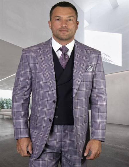 Mens Plaid Suit Classic Fit Suit Mens Plaid - Checkered Suit Eggplant 8 Button Vest Vest Regular Fit 2 Button Jacket - 3 Piece Suit For Men - Three piece suit
