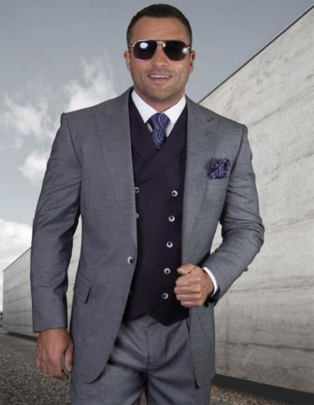 Mens Plaid Suit Classic Fit Suit Mens Plaid - Checkered Suit Celeste Single Breasted 2 Button Jacket Regular Fit - 3 Piece Suit For Men - Three piece suit