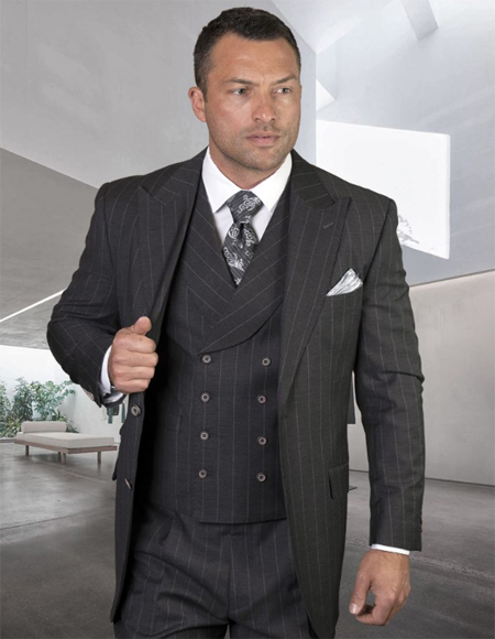 Mens Plaid Suit Classic Fit Suit Mens Plaid - Checkered Suit Grey Single Breasted Jacket Regular Fit - 3 Piece Suit For Men - Three piece suit