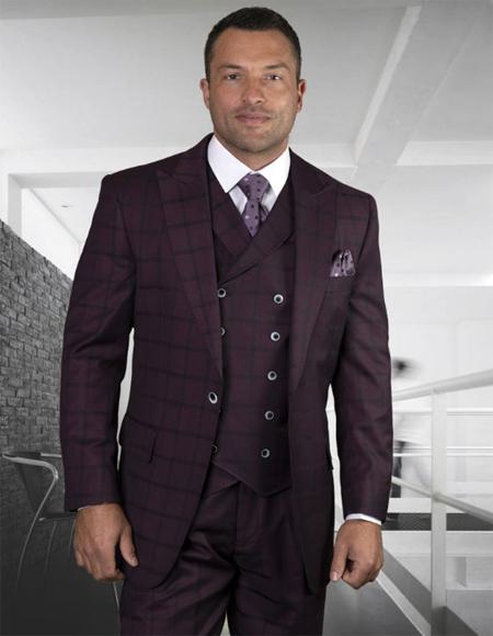 Mens Plaid Suit Classic Fit Suit Mens Plaid - Checkered Suit Burgundy Side Vents Jacket Flap Pockets Pleated Pants - 3 Piece Suit For Men - Three piece suit