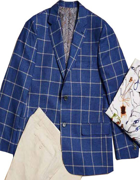 Mens Linen Blazer by Inserch / Merc - Summer Navy Check