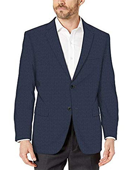 Blue Check Plaid Mini Checker Wool Blazer