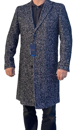 Mens Black and Grey Herringbone ~ Tweed Overcoat Three Quarter Wool & Cashmere Carducci