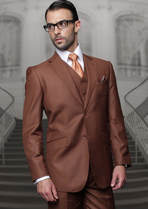 Mens Single Breasted Notch Lapel Copper Suit