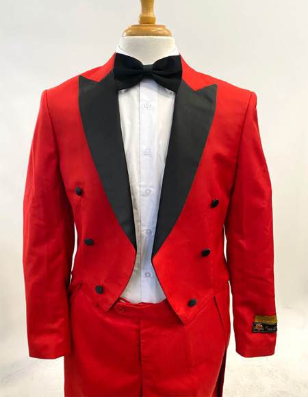 1920s Mens Fashion Tailcoat Tuxedo Morning Suit Tux Color Wool Fabric By Alberto Nardoni Red and Black Color