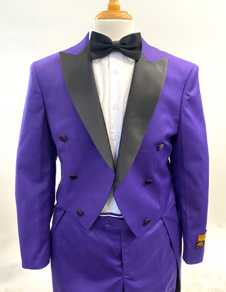 1920s Mens Fashion Tailcoat Tuxedo Morning Suit Tux Color Wool Fabric By Alberto Nardoni Purple and Black Color