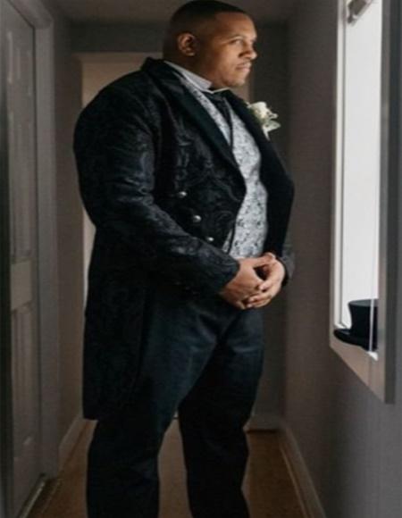 Mens Black 6 Button Peak Label Paisely Pattern Suit