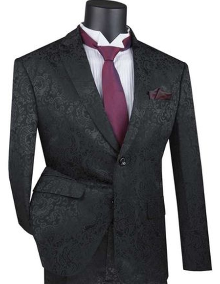 Mens Black Paisley Slim Fit Prom Suit