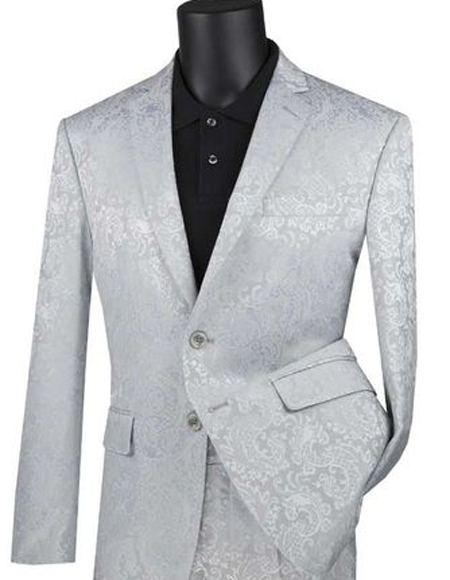 Mens Silver Paisley Slim Fit Prom Suit