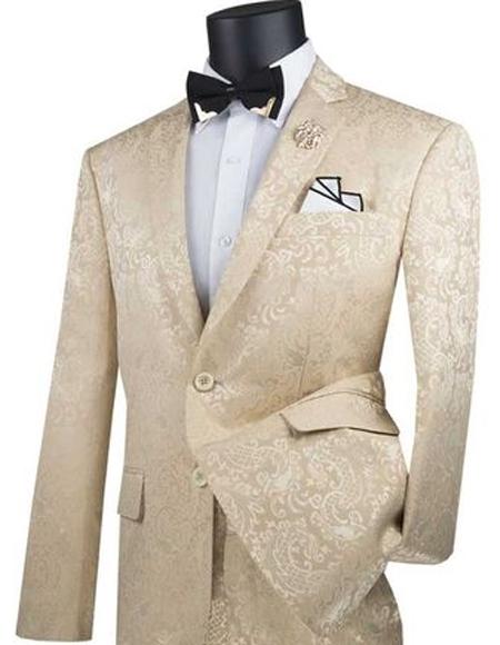 Mens Beige Paisley Slim Fit Prom Suit