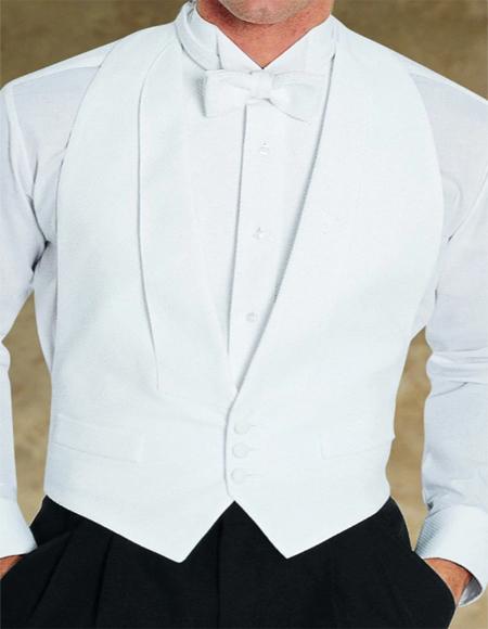 White Pique Backless Tuxedo Vest