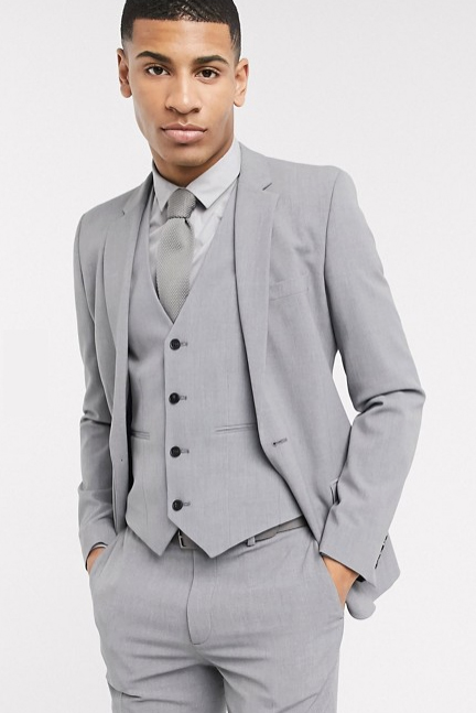 Extra Slim Fit Suit Mens Gray Wool Fabric Shorter Sleeve~ Shorter Jacket - 3 Piece Suit For Men - Three piece suit