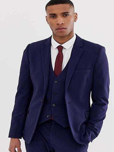 Extra Slim Fit Suit Mens Navy Wool Fabric Shorter Sleeve~ Shorter Jacket - 3 Piece Suit For Men - Three piece suit