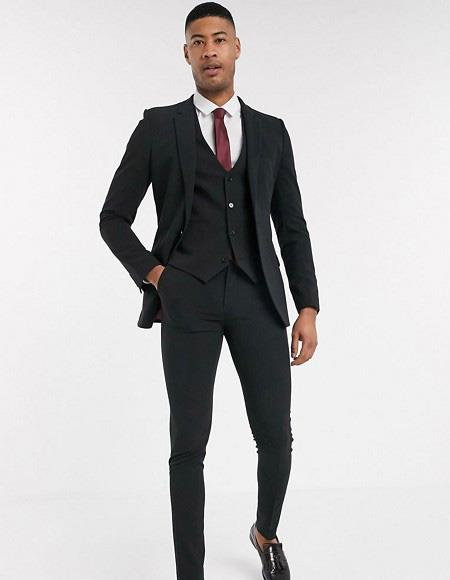 Extra Slim Fit Suit Mens Black Wool Fabric Shorter Sleeve~ Shorter Jacket - 3 Piece Suit For Men - Three piece suit