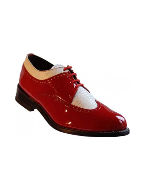 Mens Blue-White Leather Two Toned Wingtip