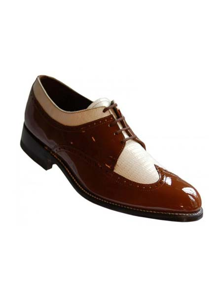 Mens Brown-White Leather Lace UP Two Toned Wingtip
