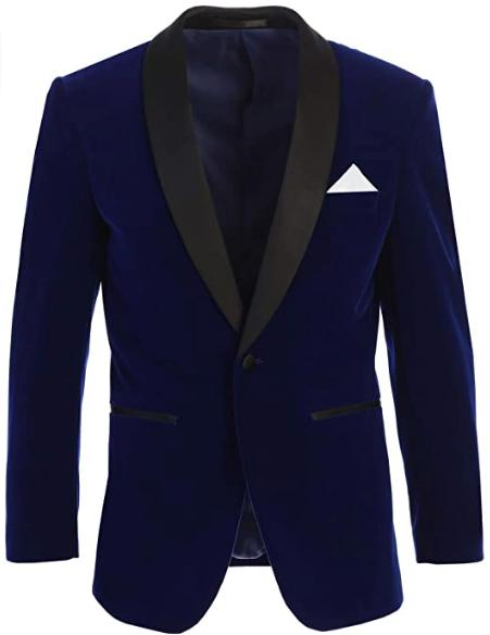 Mens Velvet Tuxedo Blazer Slim Fit Indigo Blue With Black