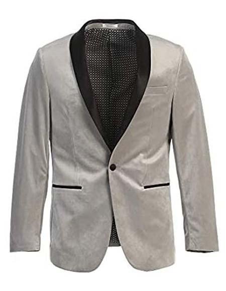 Mens Velvet Tuxedo Blazer Slim Fit Grey With Black