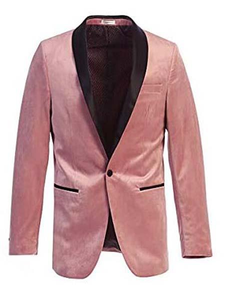 Mens Velvet Tuxedo Blazer Slim Fit Pink Tuxedo With Black