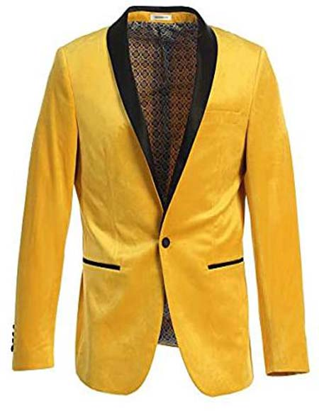 Mens Velvet Tuxedo Blazer Slim Fit Yellow With Black