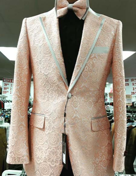 Mens Prom Paisley ~ Floral Suits / Wedding Tuxedos Jacket and Pants Orange