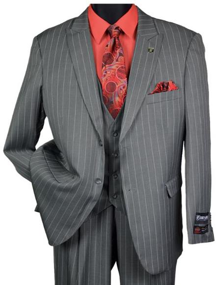 Mens Grey Big and Tall Single Breasted Peak Lapel Vested Suit