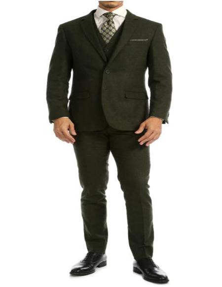 Tweed 3 Piece Suit - Tweed Wedding Suit Green Full Lined Jacket Suit