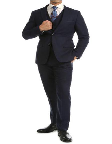 Tweed 3 Piece Suit - Tweed Wedding Suit Navy Big and Tall Tweed Super Slim Fit Suit