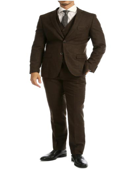 Tweed 3 Piece Suit - Tweed Wedding Suit Cognac Imported British Tweed Fabric Suit
